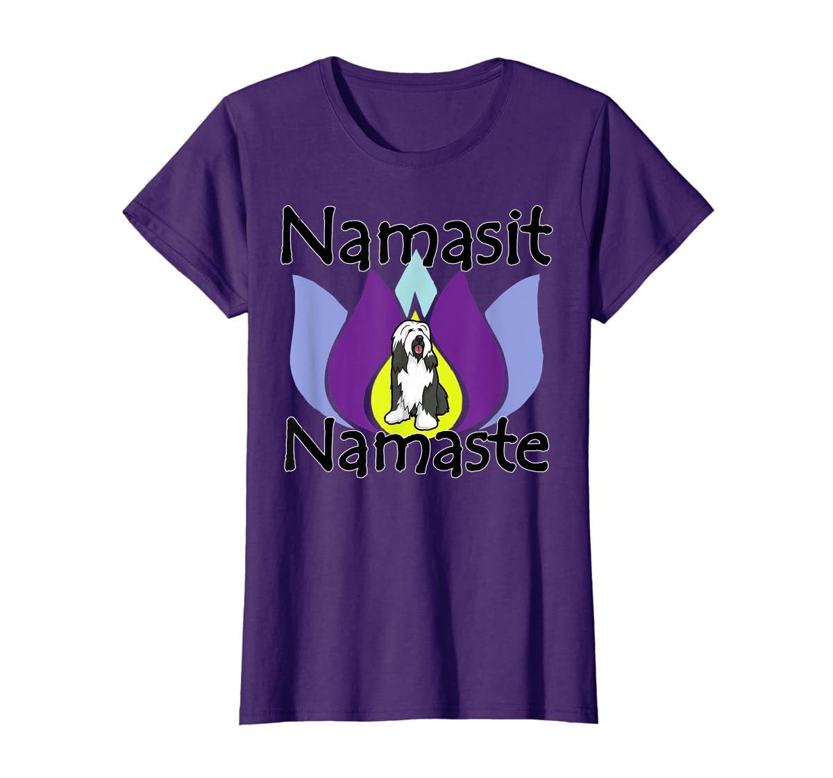 Namasit Namaste Bearded Collie Dog Yoga shirt-Women's T-Shirt-Purple