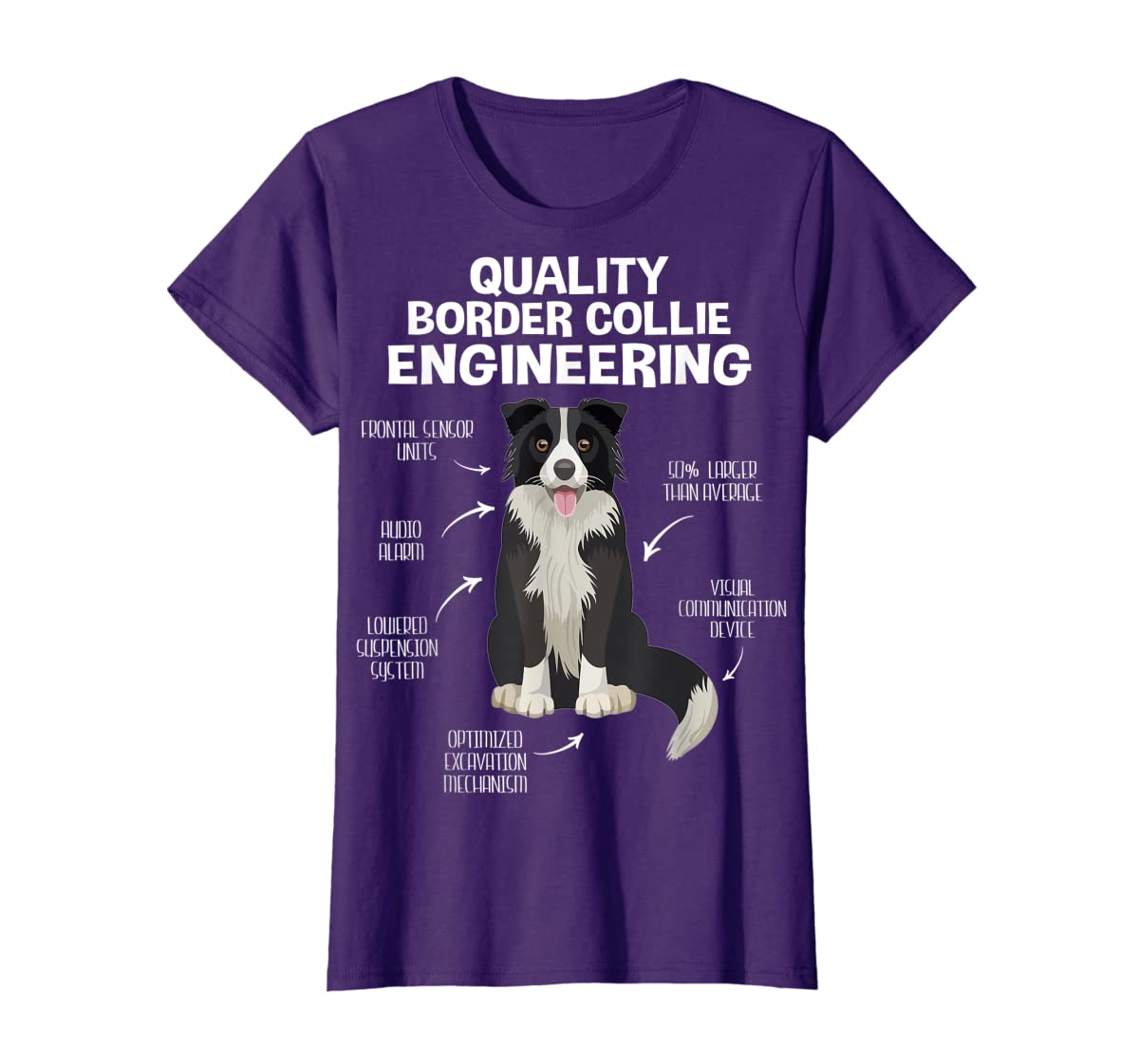 Quality Border Collie Engineering Dog Lover Gift T-Shirt-Women's T-Shirt-Purple