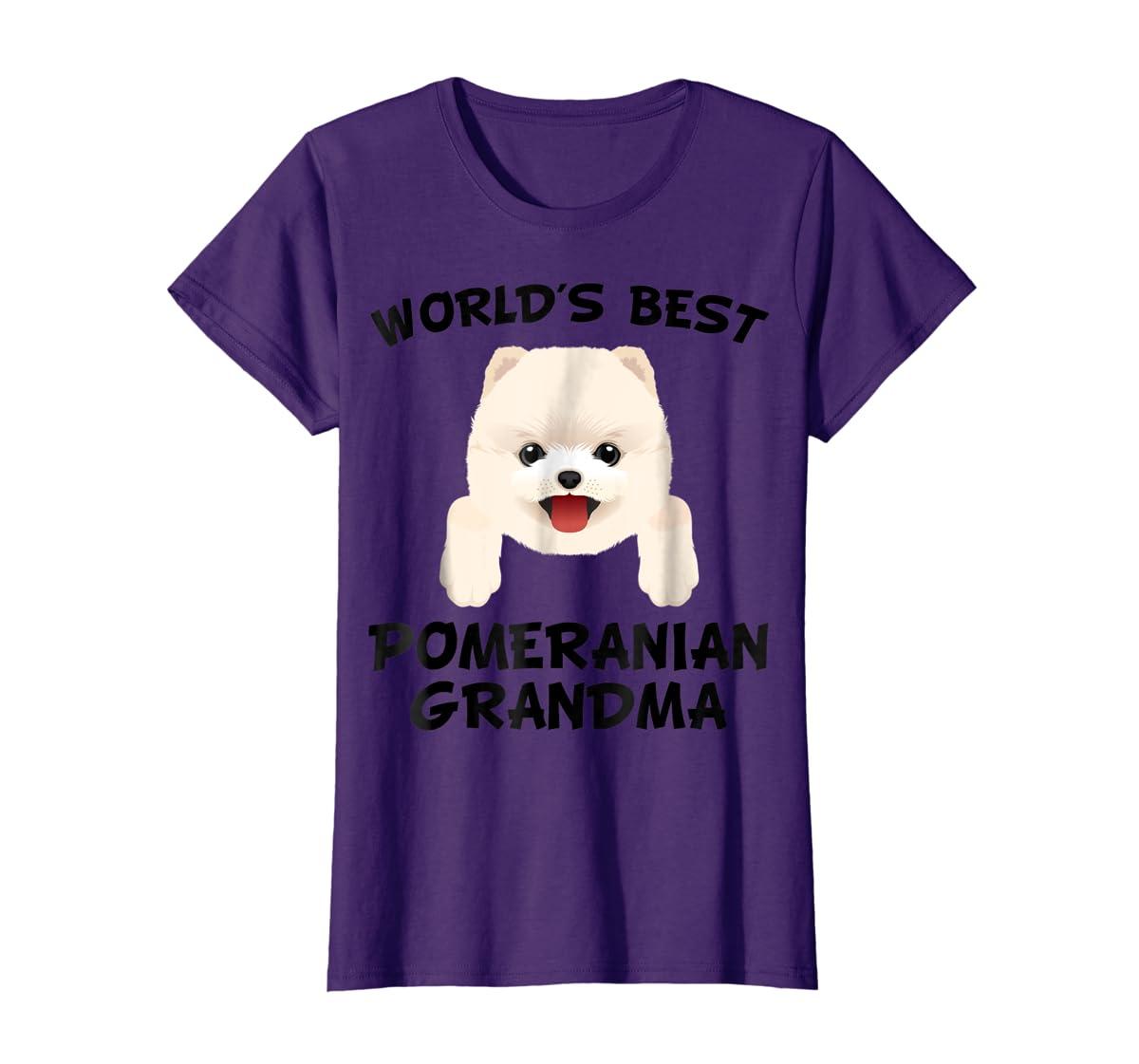 World's Best Pomeranian Grandma Dog Granddog T-Shirt-Women's T-Shirt-Purple