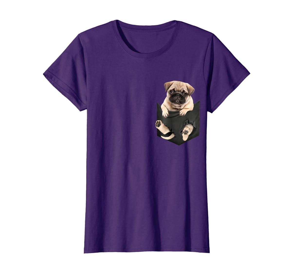 Dog in Your Pocket santa hat pug lover gift shirt-Women's T-Shirt-Purple