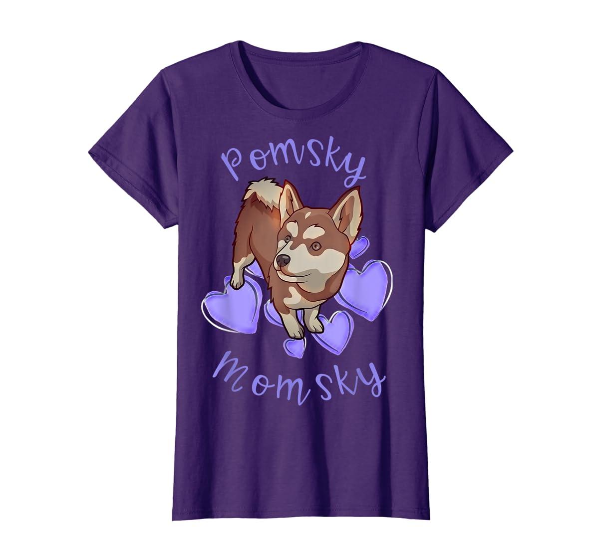 Cute Pomsky Momsky TShirt - Pomsky Mom Purple Hearts Shirt-Women's T-Shirt-Purple