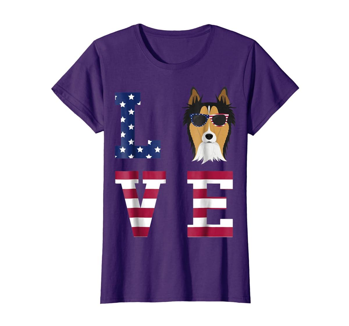 Collie Dog - 4th Of July T-Shirt-Women's T-Shirt-Purple