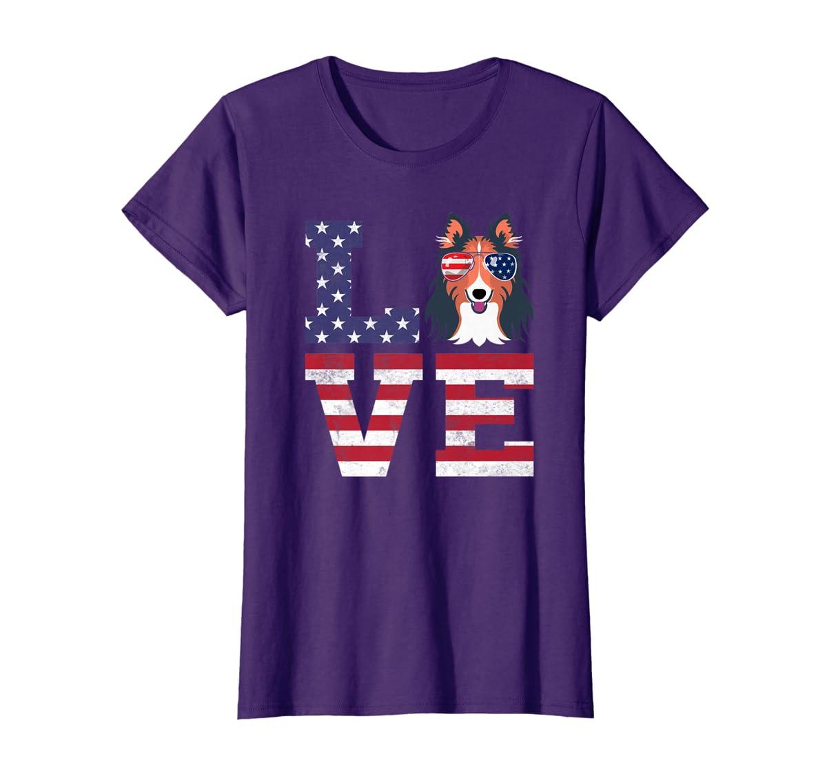 Love Rough Collie Dog American Flag 4th of july Shirt-Women's T-Shirt-Purple