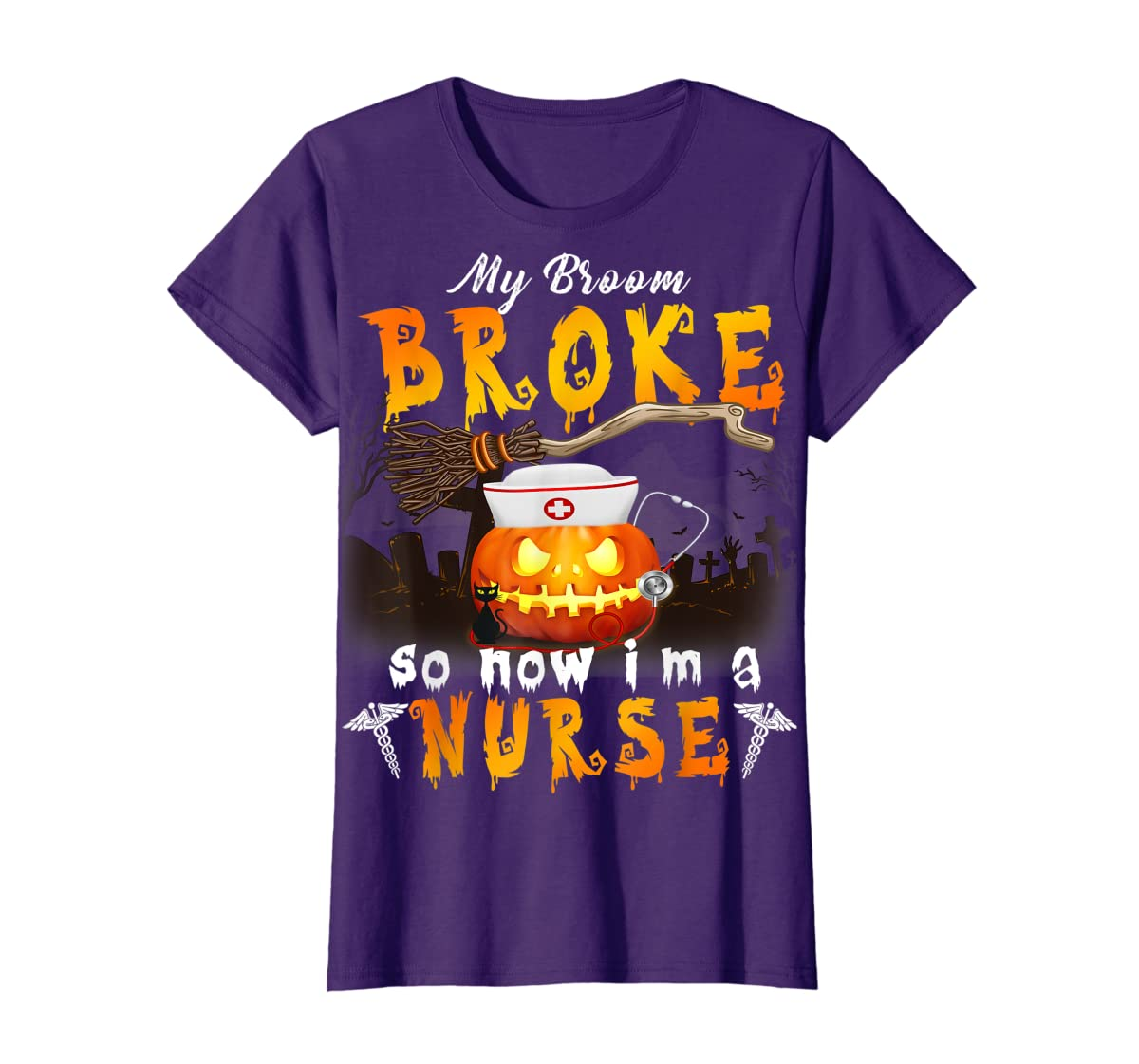 My Broom Broke So Now I'm A Nurse Halloween Costume Gift T-Shirt-Women's T-Shirt-Purple