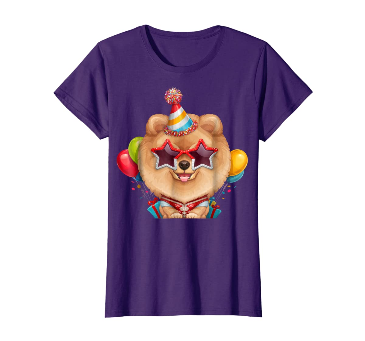 Orange Pomeranian in Glasses Birthday T-Shirt-Women's T-Shirt-Purple