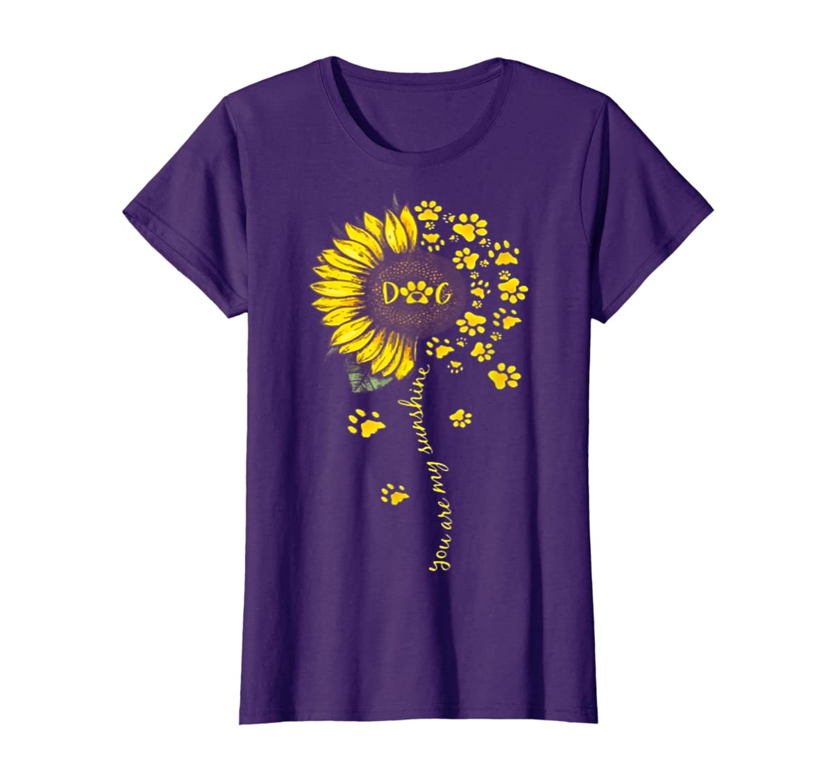You Are My Sunshine Dog Tshirt-Women's T-Shirt-Purple