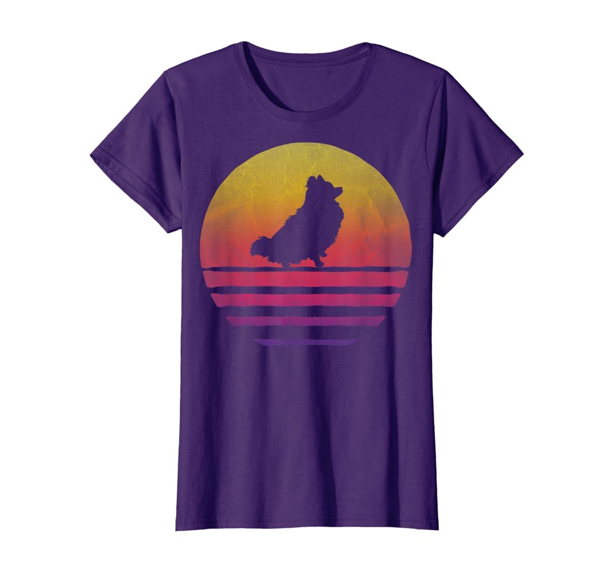 Retro Vintage Sunset Pomeranian Dog Lover Silhouette Gift T-Shirt-Women's T-Shirt-Purple
