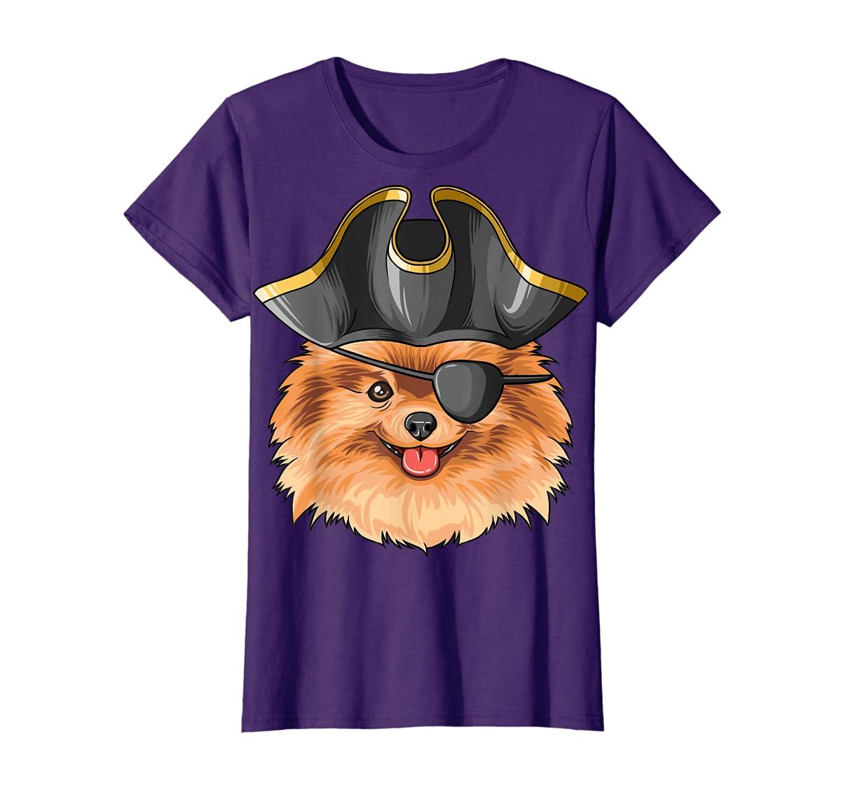 Pirate Pomeranian Pirates Hat Pomeranian T-Shirt-Women's T-Shirt-Purple