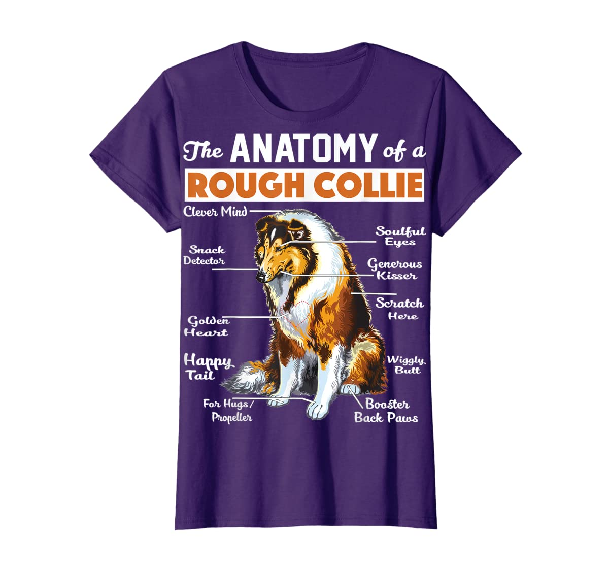 The Anatomy Of A Rough Collie-Women's T-Shirt-Purple