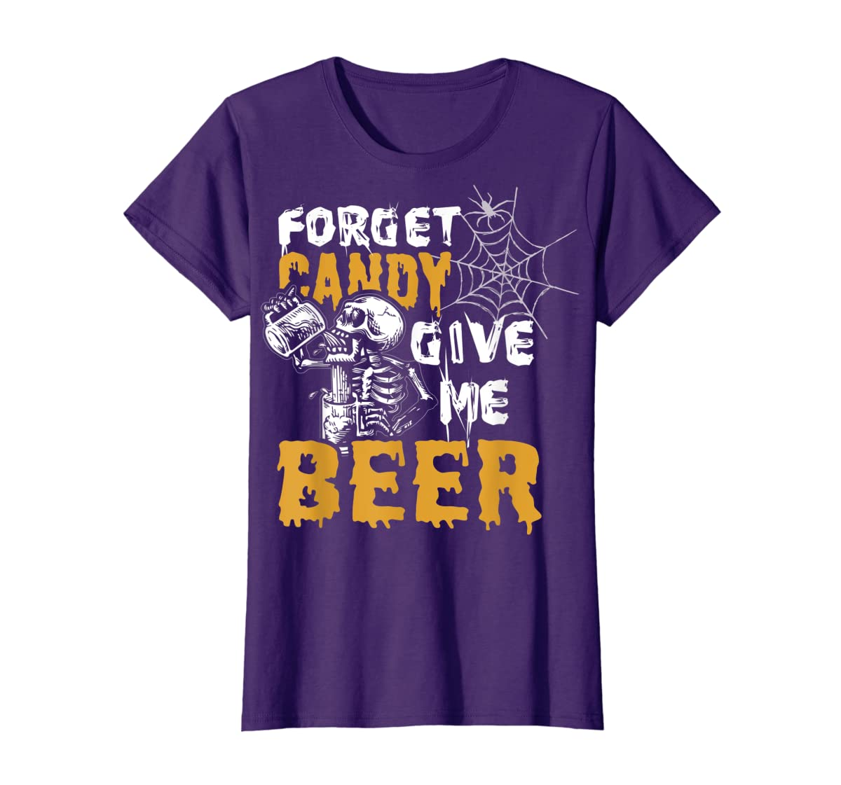 Forget Candy Give me Beer shirt Halloween Shirt gifts T-Shirt-Women's T-Shirt-Purple