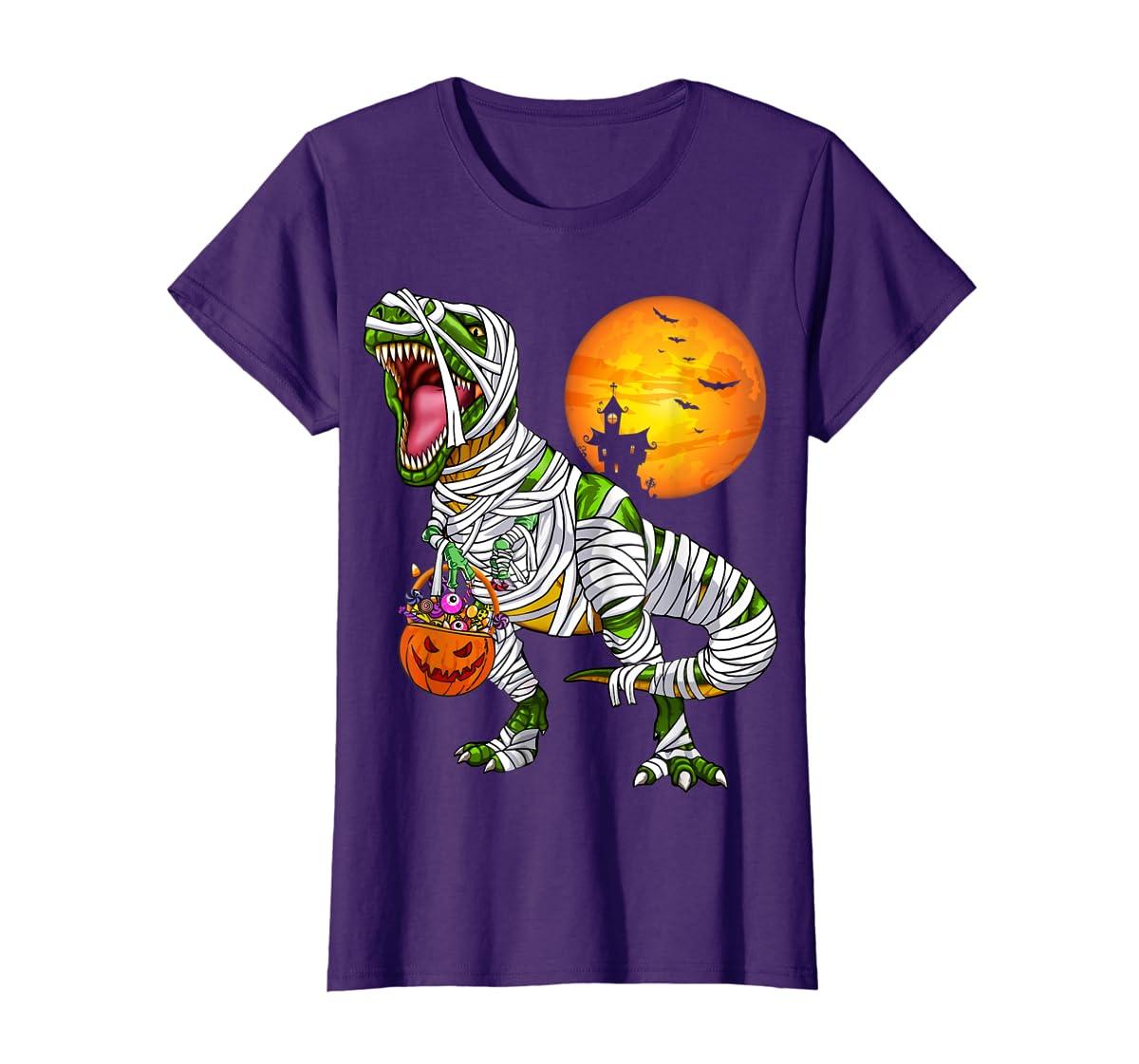 Halloween Gift For Boys Kids Dinosaur T rex Mummy Pumpkin T-Shirt-Women's T-Shirt-Purple