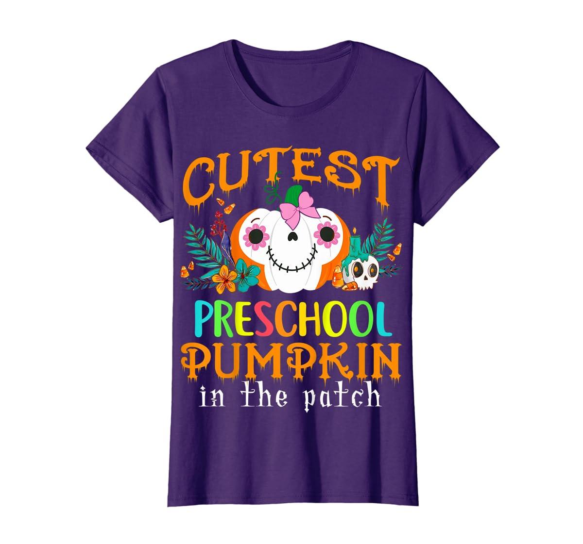 Kids Cutest Preschool Pumpkin In The Patch Halloween Costume Girl T-Shirt-Women's T-Shirt-Purple