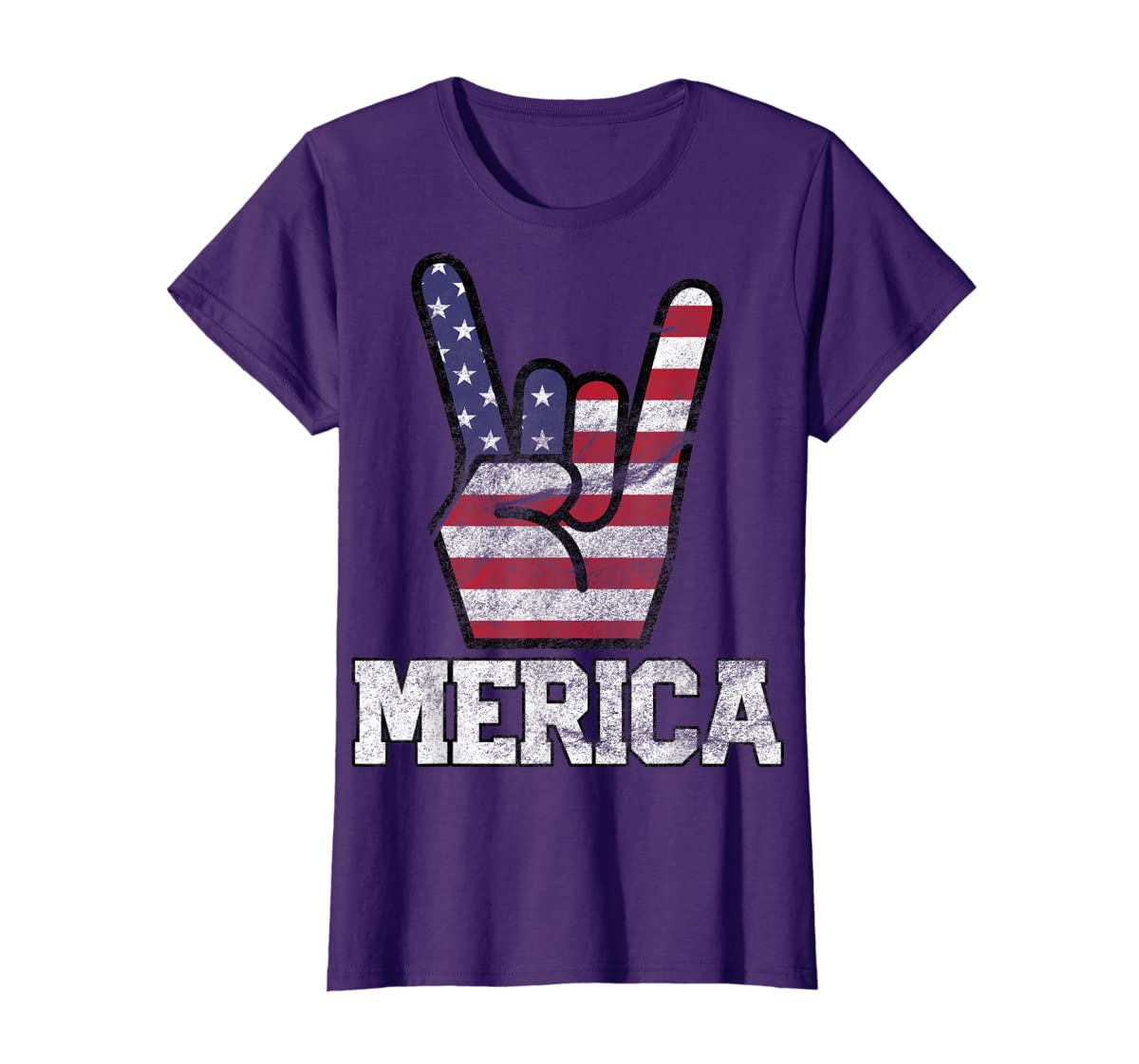 Merica Rock Sign 4th of July Vintage American Flag Retro USA T-Shirt-Women's T-Shirt-Purple