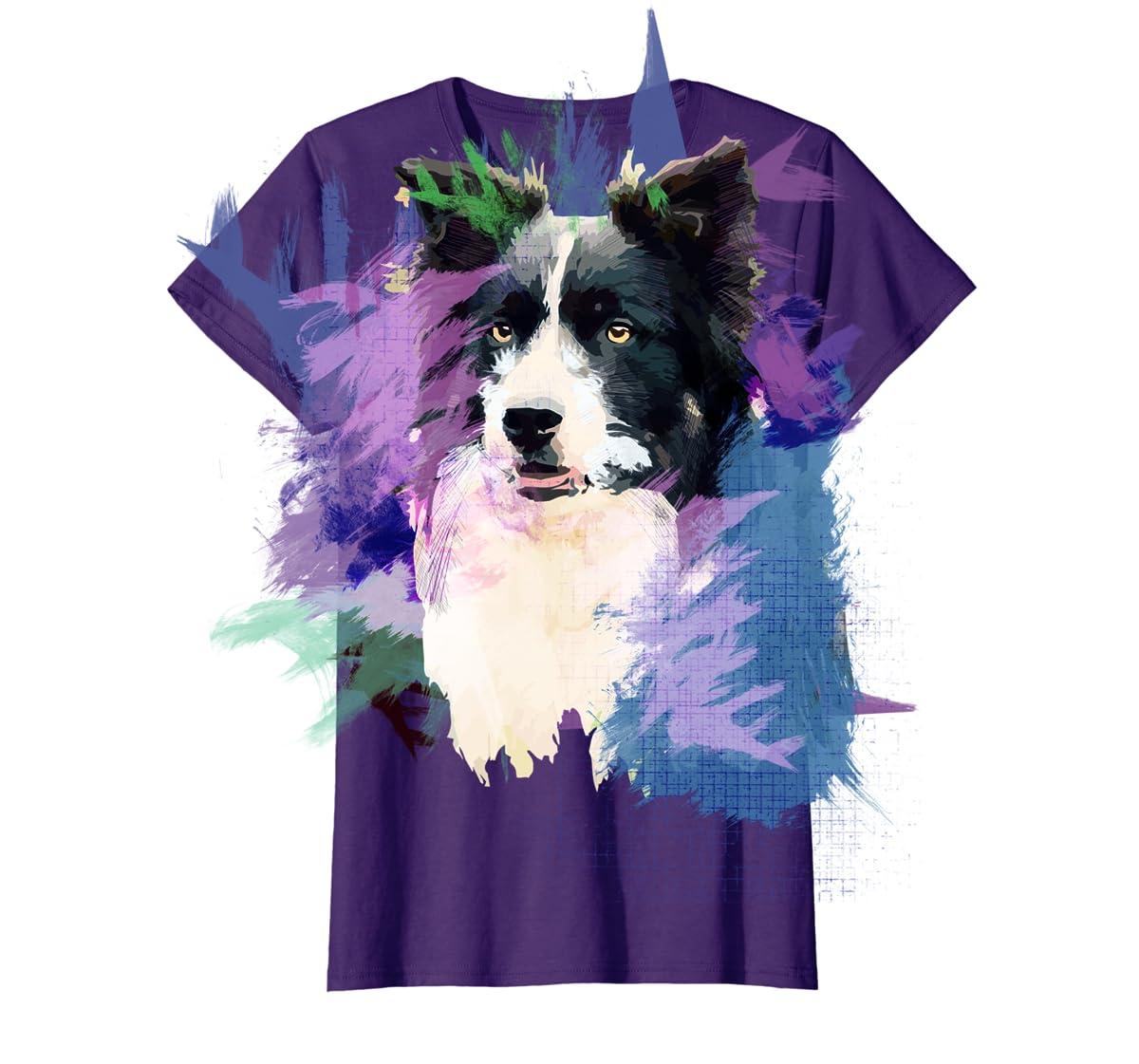 Border Collie T-Shirt Splash Art Dog Owner Gift Tee Shirt-Women's T-Shirt-Purple