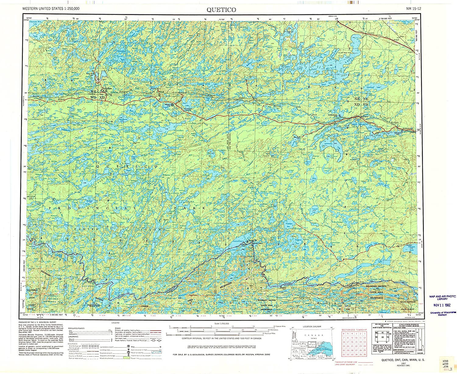 Quetico MN topo map, 1 250000 Scale, 1 X 2 Degree, Historical, 1957, Updated 1982, 22.4 x 27.9 in