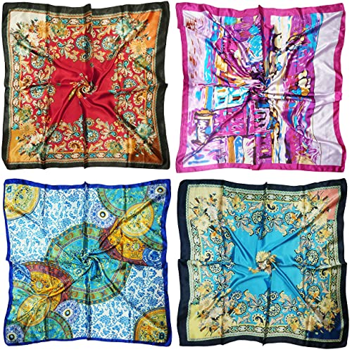 e53a016f6439d LilMents 4 Mixed Designs Large 90 × 90cm Square Satin Womens Neck Head Scarf  Scarves Set