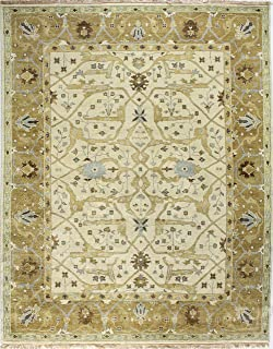 Bashian Vintage Collection HSA101 Hand Knotted 100% Wool Area Rug, 5.9' x 8.9', Ivory/Gold