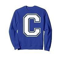 Letter C Capital Alphabet College Varsity Monogram Club T-shirt Sweatshirt Royal Blue