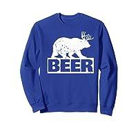 Beer Bear Plus Deer Equals Beer Funny Drinking Vintage Shirts Sweatshirt Royal Blue