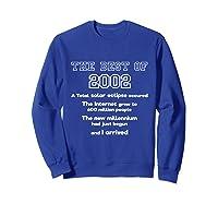 2002 18th Birthday Gift For 18 Year Old Girls Shirts Sweatshirt Royal Blue
