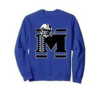 Football Monogrammed Gift Letter M Initial Shirts Sweatshirt Royal Blue