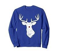 Vintage Christmas Reindeer T Shirt Sweatshirt Royal Blue