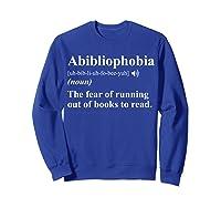 Abibliophobia Definition Book Lover Gift Shirts Sweatshirt Royal Blue