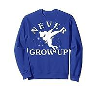 Disney Peter Pan Tinker Bell Never Grow Up Text Silhouette T-shirt Sweatshirt Royal Blue