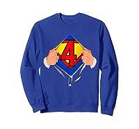 4 Year Old Superhero Birthday Party Super Hero 4th Gift Shirts Sweatshirt Royal Blue