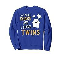 Funny Parents Of Twins Shirt Halloween Gift Sweatshirt Royal Blue