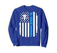 Va Nurse Distressed American Flag Short Sleeve Tshirt Sweatshirt Royal Blue