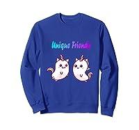 Caticorn Friends Unicorn Cat Rainbow Shirts Sweatshirt Royal Blue
