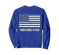 Correctional Officer Shirt Thin Gray Line T-shirt Gift Sweatshirt Royal Blue