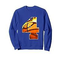 Number 4 Basketball Gift T-shirt Sweatshirt Royal Blue