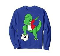 Dabbing Soccer T-rex Mexico Shirt - Mexican Football Sweatshirt Royal Blue