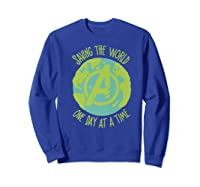 Earth Day Saving The World One Day At A Time Shirts Sweatshirt Royal Blue
