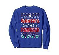 Santas Favorite Concrete Finisher Christmas Ugly Sweater Premium T-shirt Sweatshirt Royal Blue
