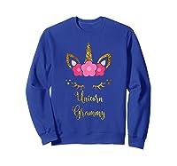 Unicorn Grammy Cute Floral Face Gift Christmas Shirts Sweatshirt Royal Blue