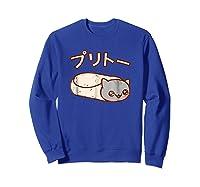 Kawaii T-shirt: Purrito Cat Japanese Version Sweatshirt Royal Blue