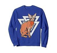 Vintage Geometric Sphynx Cat T-shirt Sweatshirt Royal Blue
