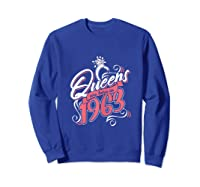 Queens Are Born In 1963 Bday Flamingo Gifts 57th Birthday T-shirt Sweatshirt Royal Blue