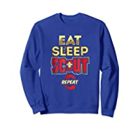 Eat Sleep Scout Repeat Funny Scouting Gift Shirts Sweatshirt Royal Blue
