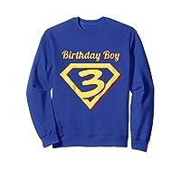 3rd Birthday Boy Gift Super Hero T-shirt Sweatshirt Royal Blue