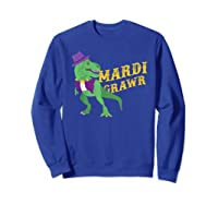 Mardi Grawr T Rex Dinosaur Mardi Gras Bead T Shirt T-shirt Sweatshirt Royal Blue