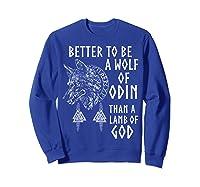 Vikings Wolf Rune Circle Wolf Of Odin Norse Mythology T-shirt Sweatshirt Royal Blue