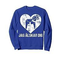 Scandinavian Valentine's Day Dala Horse Jag Alskar Dig Shirts Sweatshirt Royal Blue