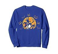 Baseball Pumpkin Witch Hat Funny Halloween Costume Shirts Sweatshirt Royal Blue