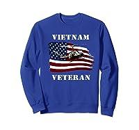 Vietnam Veterans Uh 1 Huey Helicopter American Flag Shirts Sweatshirt Royal Blue
