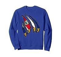 Costa Rica Patriotic American Eagle Claws Costa Rican Flag T-shirt Sweatshirt Royal Blue