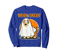 Dog Ghost Halloween Party Trick For Treat Shirts Sweatshirt Royal Blue